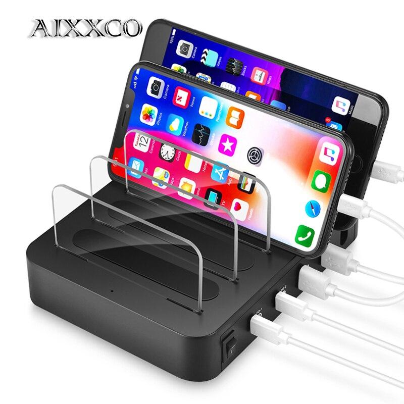 AIXXCO Charge rapide 3.0 Type C PD USB Chargerstation 5 V 3A pour iPhone X 8 iPad chargeur rapide de téléphone portable pour PC Macbook Samsung