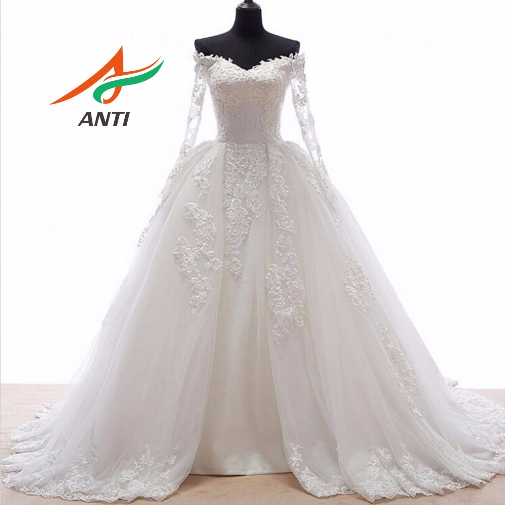 ANTI Romantic Ball Gown Wedding Dress With Long Sleeves Appliques Front open skirts fold Train Robe De Mariee Bridal Gowns 2019