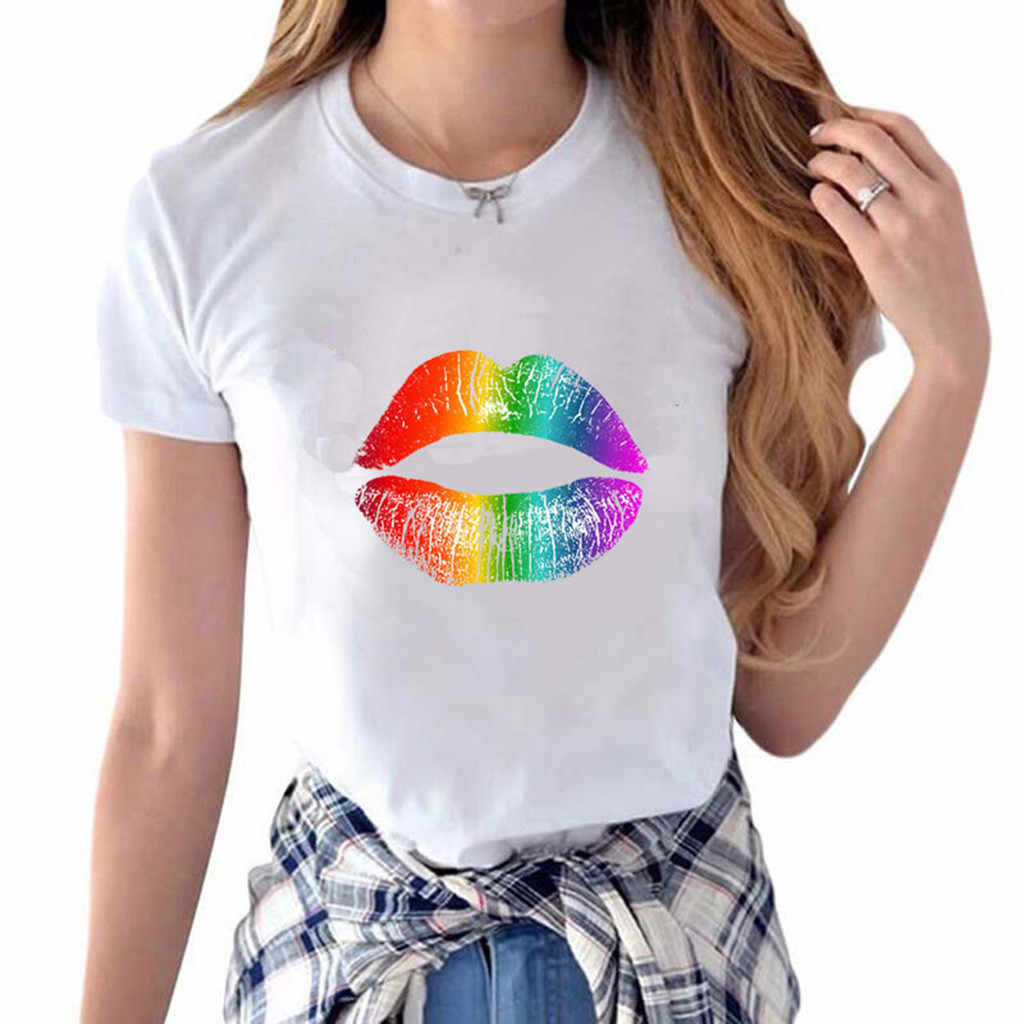 SAGACE Vrouwen T-shirt Fashion Persoonlijkheid Kleur Lippen Afdrukken Korte Mouw Ronde Hals T-Shirt Vrouw Tee Tops Casual grappige T-shirts