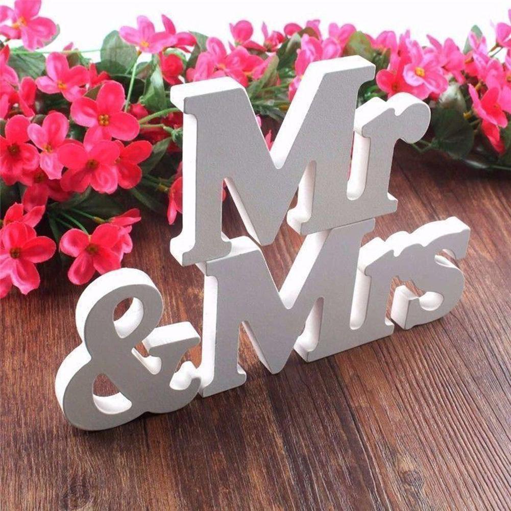 1 компл. Свадебные Аксессуары Mr & Mrs Mariage Декор День рождения Аксессуары белые буквы свадьба знак