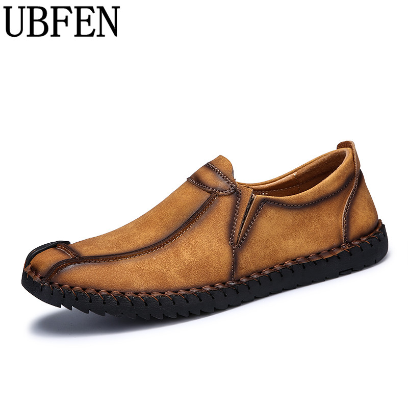 UBFEN Handmade Men's Casual Shoes For Men  Male Loafers Comfortable Soft Flats Driving Shoes Slip On Split Leather Moccasins men s genuine leather casual shoes handmade loafers for male men waterproof flat driving shoes flats