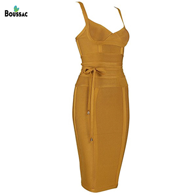 BOUSSAC Women Bandage Dress Sexy Spaghetti Strap Deep V Backless Prom Summer Bodycon Party Dress in Dresses from Women 39 s Clothing