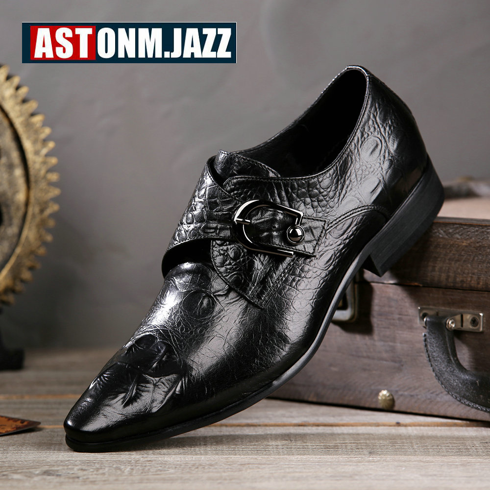 New Men's Wedding Dress Shoes Leisure Casual Crocodile Genuine Leather Oxfords Shoes Business Brogue Shoes Moccasins Pointed Toe top quality crocodile grain black oxfords mens dress shoes genuine leather business shoes mens formal wedding shoes