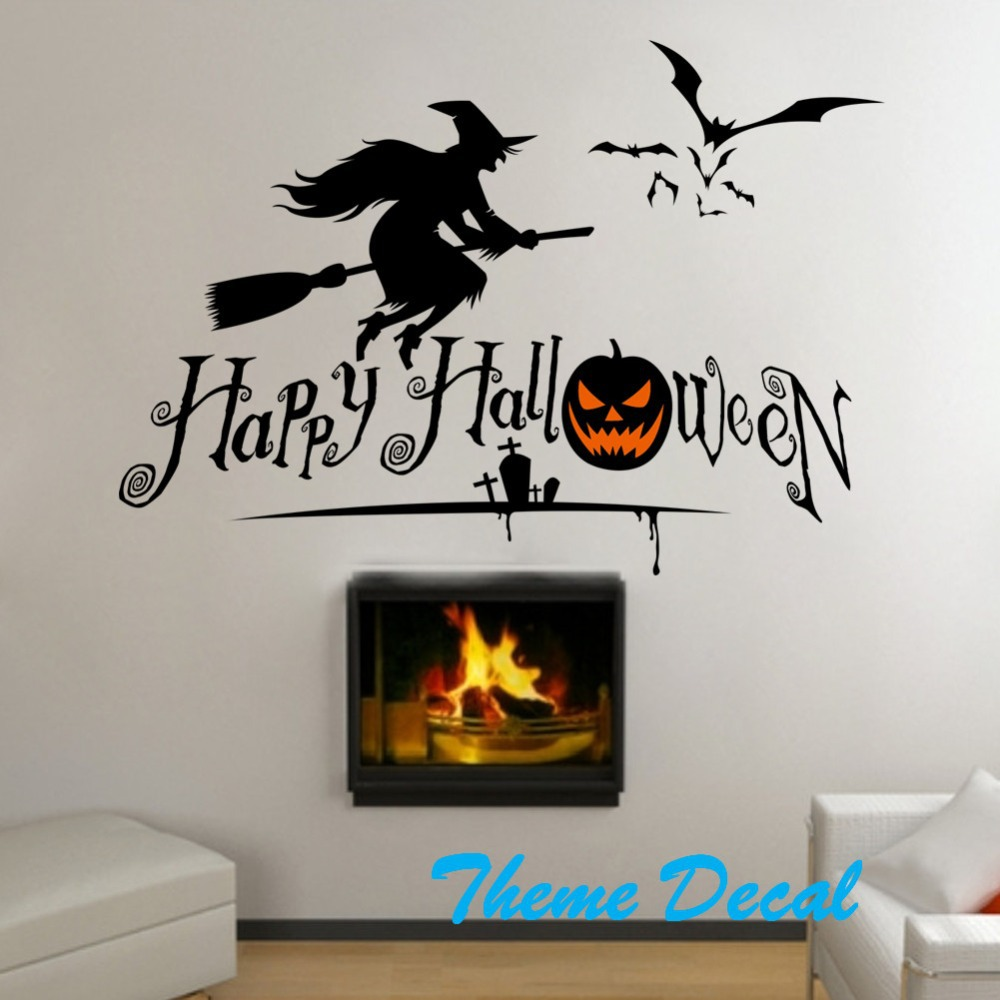 Witch Bats Pumpkin Wall Stickers Diy Wall Decal Halloween Letters Quote Wall  Decorations Halloween Kidu0027s Gift Diy Wall Sticker In Wall Stickers From  Home ...