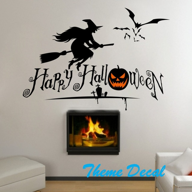 Witch Bats Pumpkin Wall Stickers Diy Wall Decal Halloween Letters Quote Wall  Decorations Halloween Kidu0027s Gift