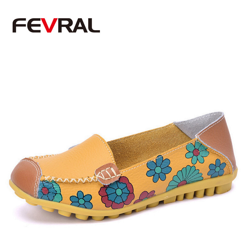 FEVRAL Spring And Summer Leather Woman Shoes 2018 Fashion Casual Flat Shoes Peas Non-Slip Outdoor Shoes 4 Colors Size 35-44 цена 2017