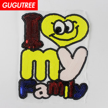 GUGUTREE embroidery Sequins big family patches letter badges applique for clothing XC-446
