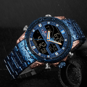 Image 5 - NAVIFORCE relojes deportivos para hombre, reloj Digital LED de cuarzo, de pulsera militar de acero completo, Masculino
