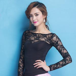 Image 2 - Newest Fashion Modern lace long sleeve Costume comfortable sexy Latin dance top for women/female/lady, performance wear YC1004