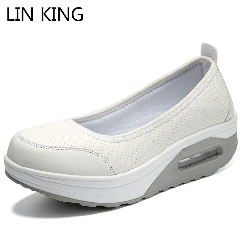 LIN KING Spring Autumn Wedge Women Platform Shoes Height Increasing Slip On Swing Shoes Casual Loafers Plus Size Sapato Feminino