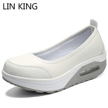 LIN KING Spring Autumn Wedge Women Platform Shoes Height Increasing Slip On Swing Shoes Casual Loafers Plus Size Sapato Feminino(China)