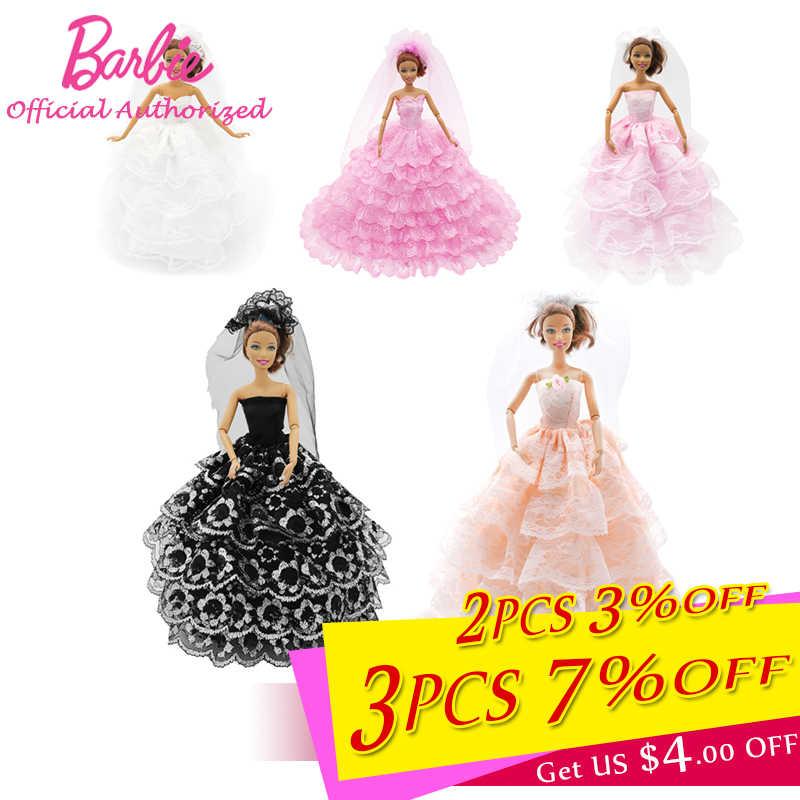 be3b3f09763 Handmake Lace Barbie Doll Wedding Dress Accessories Beautiful Evening Long Dress  Party Skirt Barbie Clothes Vestido