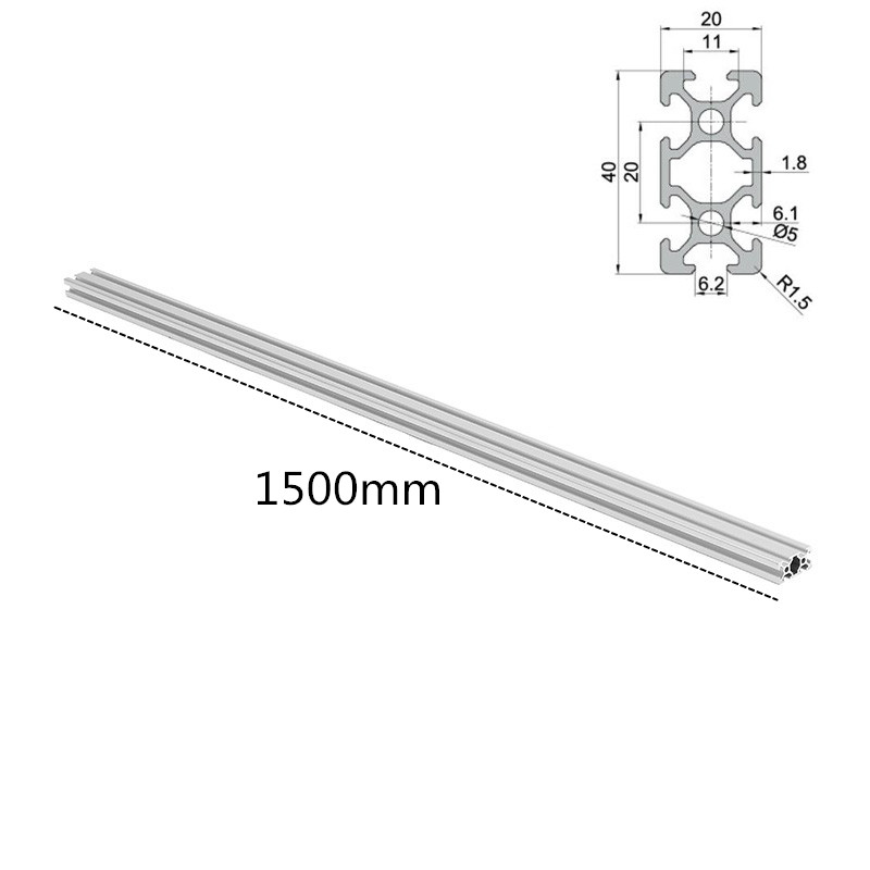 1 pc Longueur 1500mm 2040 T-Fente En Aluminium Profils D'extrusion Cadre Pour CNC 3D Imprimantes Plasma Lasers Stands meubles