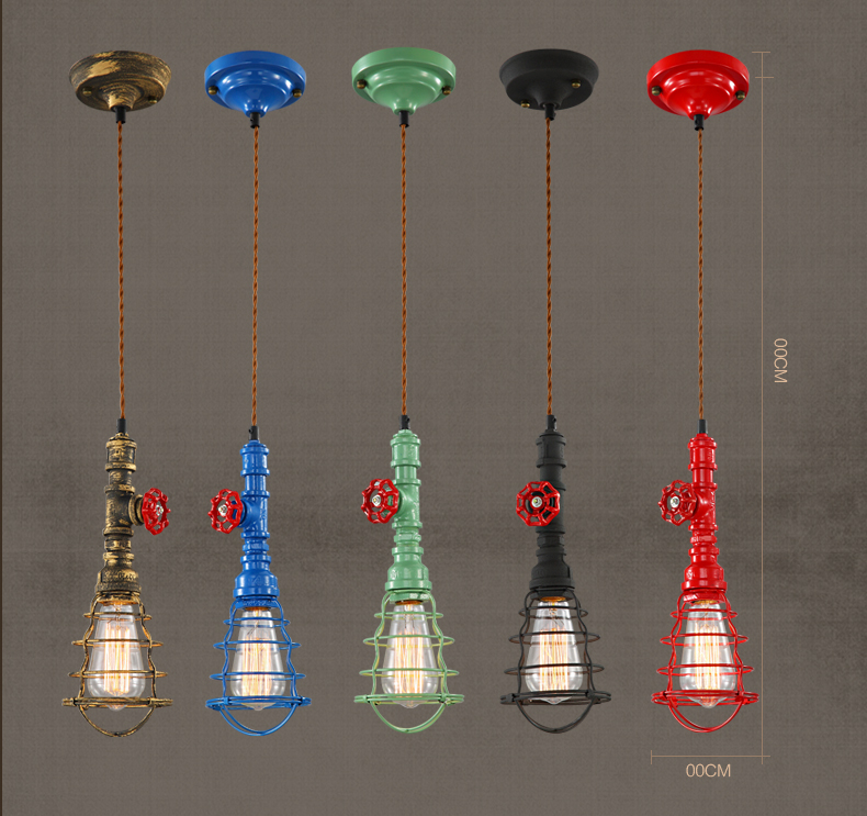 Loft Vintage Industrial Edison Hemp Rope Cage Iron Pendant Lamps Fixtures Retro Cafe Bar Club Store Water Pipe Pendant Lights loft style vintage pendant lamp iron industrial retro pendant lamps restaurant bar counter hanging chandeliers cafe room