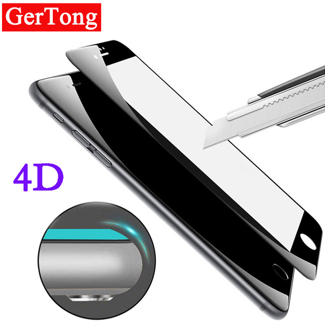4D Cold Carving 3D Curved Edge Full Cover Tempered Glass For iPhone 7 7plus 6s 6 Plus 8 X Screen Protector Round Protective Film
