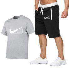 2019 Brand t shirt Men Sets Fashion Summer cotton short sleeve Sporting Suit T-shirt +shorts Mens 2 Pieces casual clothing