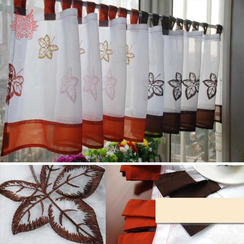 New White Orange Coffee Leaves Embroidery Half Curtain Bay