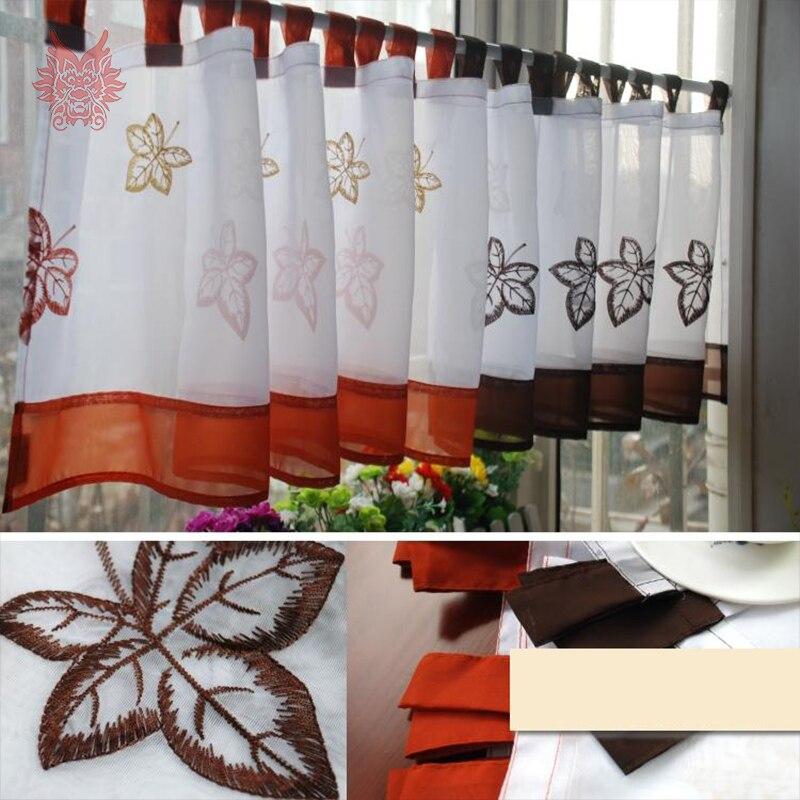€ 7.26 50% de réduction|Nouveau blanc orange café feuilles broderie demi  rideau baie fenêtre rideau pour café cuisine chambre rideaux tende ...