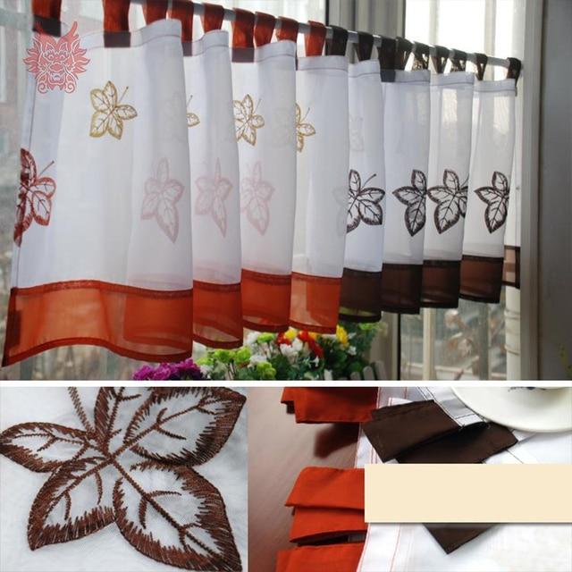 Nouveau blanc orange café feuilles broderie demi rideau baie fenêtre ...