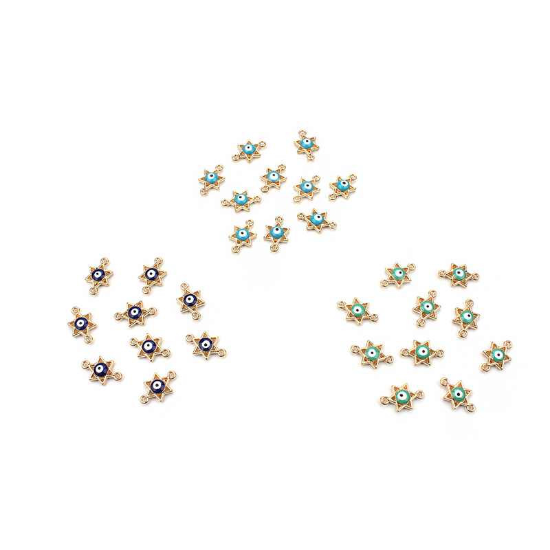 20pcs/lot 10*16.5mm Blue Hexagram Evil Eye Jewelry Connectors Lucky Jewelry Findings Components For Bracelet Necklace