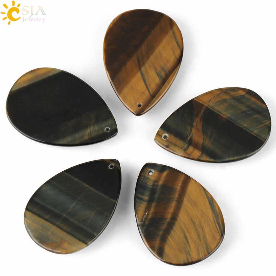 CSJA pierre naturelle jaune bleu oeil de tigre Cabochon goutte d'eau pendentifs ovales avec trou pour faire des colliers femmes hommes bijoux G113