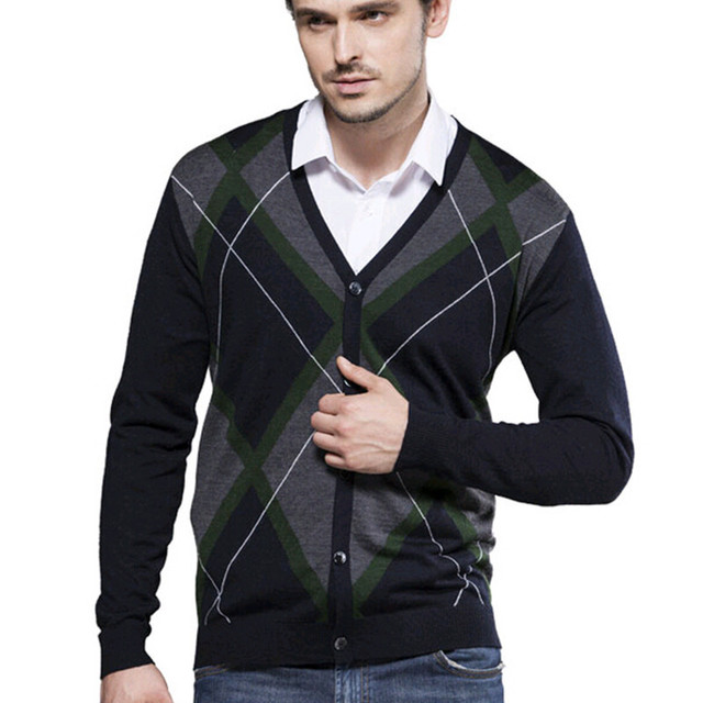 Autumn winter Business casual men cardigans v-neck color matching knitted  sweater men long-sleeved cardigan coat 4657ae42f