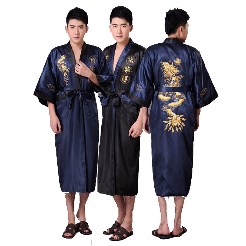 novelty reversible menu0027s kimono bathrobe gown chinese style satin bath robe embroidery dragon sleepwear s m l xl xxl xxxl - Mens Bathrobes