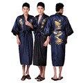 Novelty Reversible Men's Kimono Bathrobe Gown Chinese Style Satin Bath Robe Embroidery Dragon Sleepwear S M L XL XXL XXXL 011030
