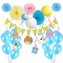 12pcs Puppy Dog Birthday Party Decoration Kit Hanging Metallic Foil Swirls Dog Paper Fans Polka Dot Pennant Flag Balloons 9 pcs set metallic gold party decoration star lantern circle garland foil dangling swirls polka dot fan for showers birthday