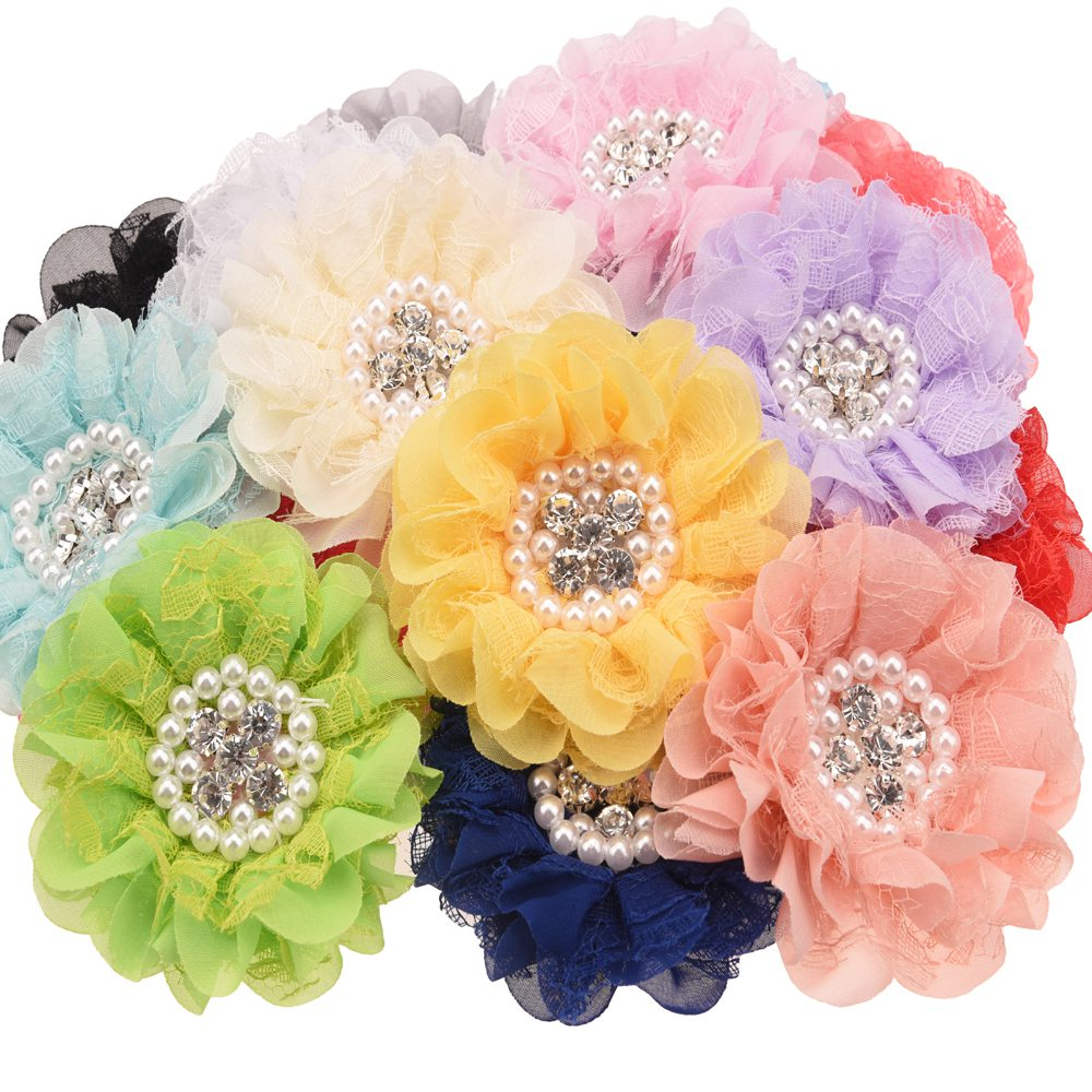 4PCS Pearl Rhinestone Center Flowers  Lace Flower Rosette Flowers Hair Accessories DIY Accessories  No Hair Clips For Headband