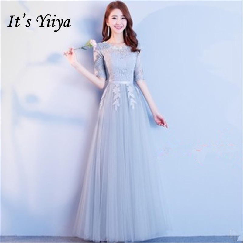 It's YiiYa Fashion Pure Color Lace   Bridesmaid     Dresses   Elegant Back Lace Up A-line Half Sleeve   Dress   B029