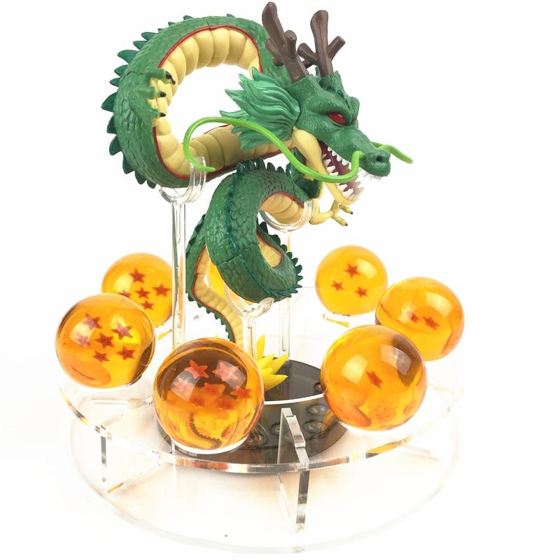 Anime Dragon Ball Z Action Figures Shenron Dragonball Z Figures Set Esferas Del Dragon+7pcs 3.5cm Balls+Shelf Figuras DBZ Toys