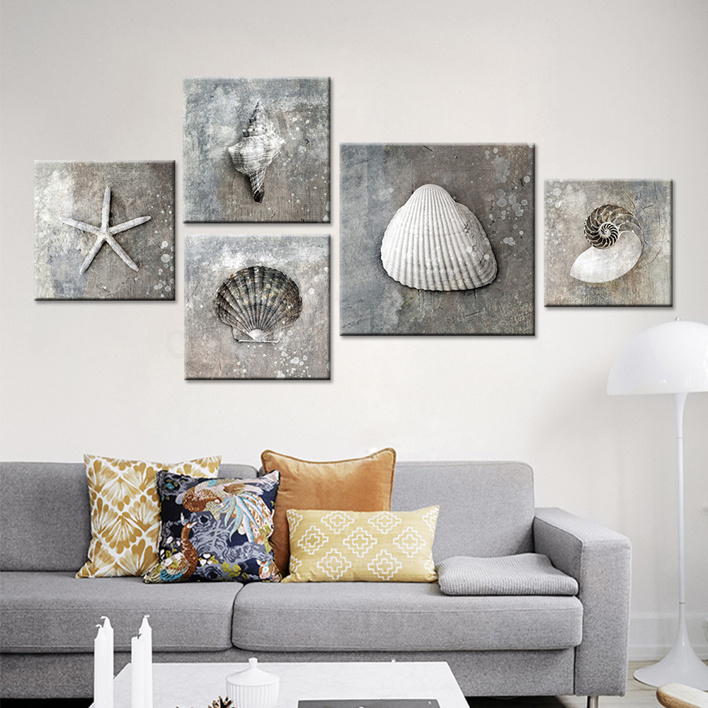 5 pcs grey vintage canvas art sea shell photo prints for Prints for home decor