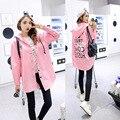 Promoción zanja Burderry Mujeres Burderry 2016 de Moda de Corea Del Todo-Fósforo Largo Letras Impresas Flojas Y Mujeres Rompevientos