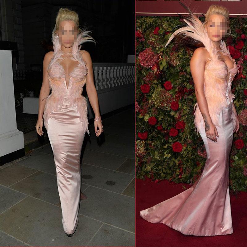 Femmes mode scène Costume vêtements formelle bal partie traînant robe rose plumes chanteur danseur étoile anniversaire présent