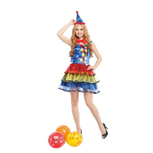 f901868e5 2017 Halloween Mulheres Adulto Traje do Palhaço Cosplay Conjunto de  Fantasia Vestido de Festa de Aniversário