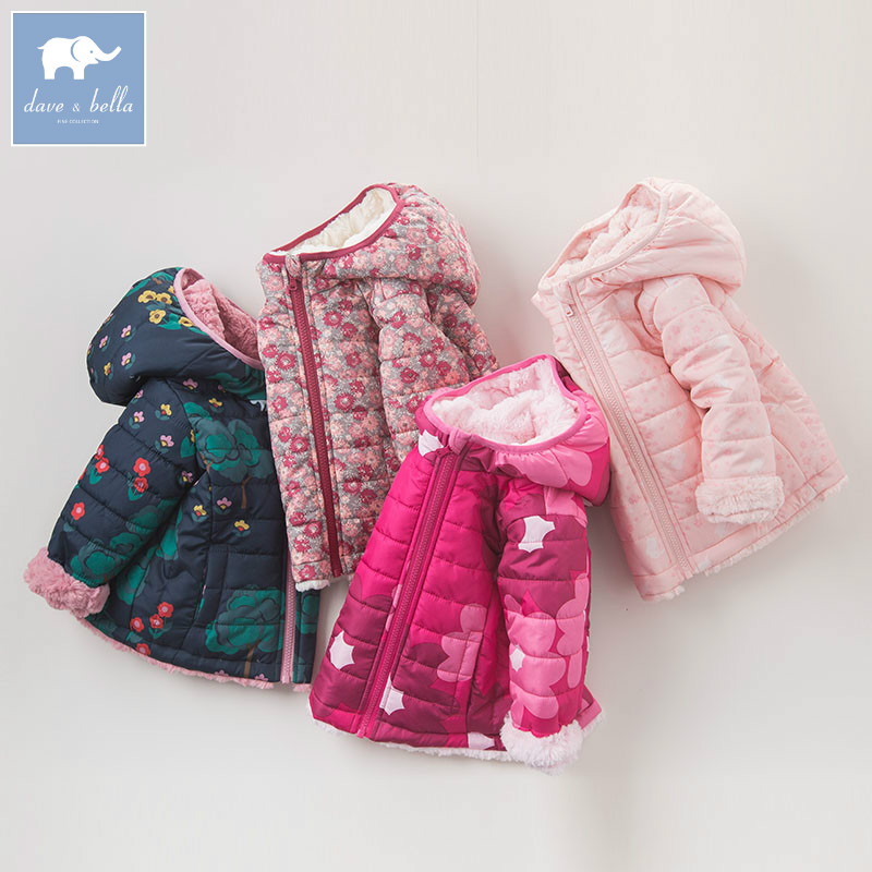 DB6181 G dave bella winter infant baby girls fashion printing outerwear children high quality coat kids