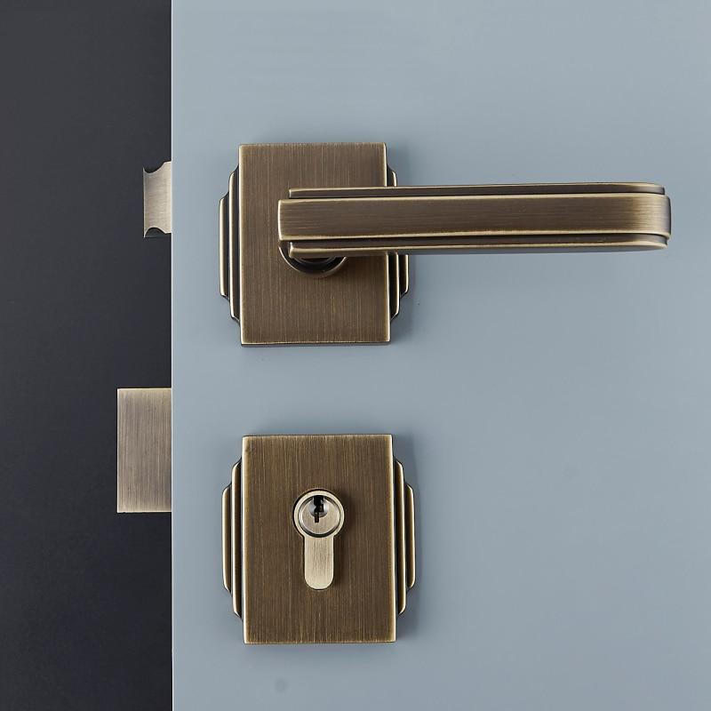 1Set Modernized solid brass Interior Door Handlesets For 35 50mm Doors European Style Handle with Lock