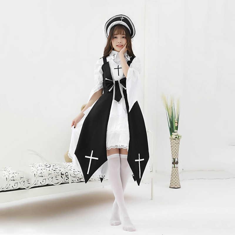Halloween Natal Kostum Kawaii Pembantu Jsk Lolita Gaun untuk Wanita Vintage Gothic Anime Penyihir Biarawati Cosplay Gaun Pesta Cross