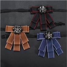 New Men's Dress Shirts Brooches Pins High Quality Men Suits Double Ribbon Collar Pin Wedding Dot Tie Pins Handmade Brooches(China)