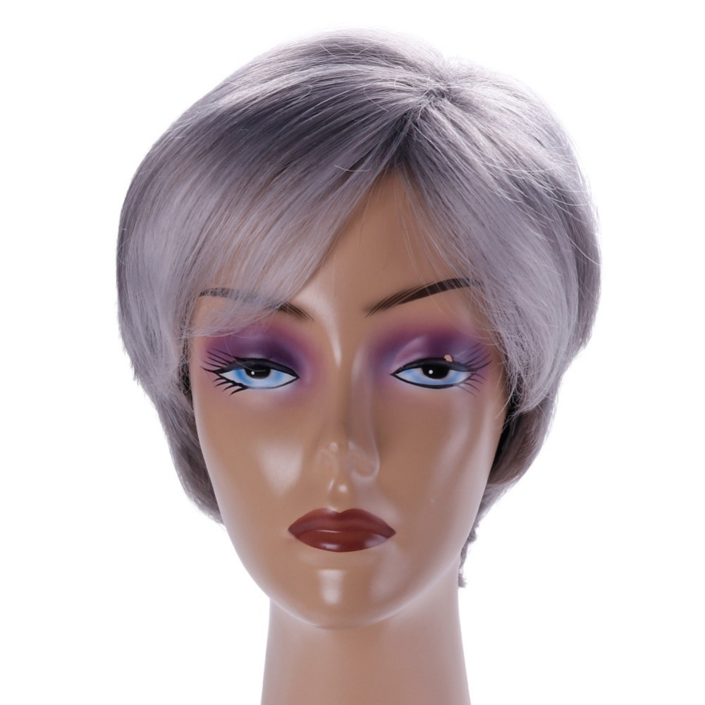 Short Choppy Layered Synthetic Brown Grey Hair Wigs Women Beauty Cosplay Party Hair Styling Accessories #281488