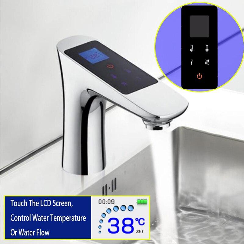 Tela sensível ao toque de Controle Torneira Da Bacia Latão Modern Chrome Torneira de Lavagem De Fluxo De Temperatura LCD Termostato Digital Basinwash Tap Mixer