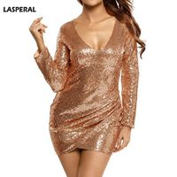 LASPERAL Hot Sequins Mini Dress Fashion Champagne V Neck Long Sleeve Night Club Party Dress Sequined