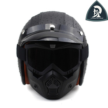 Mujeres y Hombres de La Vendimia de Cuero Open Face 3/4 Cascos de Motocicleta con goggle mascarilla retro scooter moto cascos casco xxl DOT