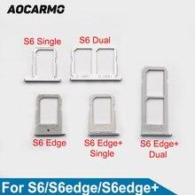 Aocarmo capa de suporte para cartão sim, metal nano bandeja slot para cartão sim para samsung galaxy s6 s6edge plus g920 g925 g928 ouro/prata/cinza