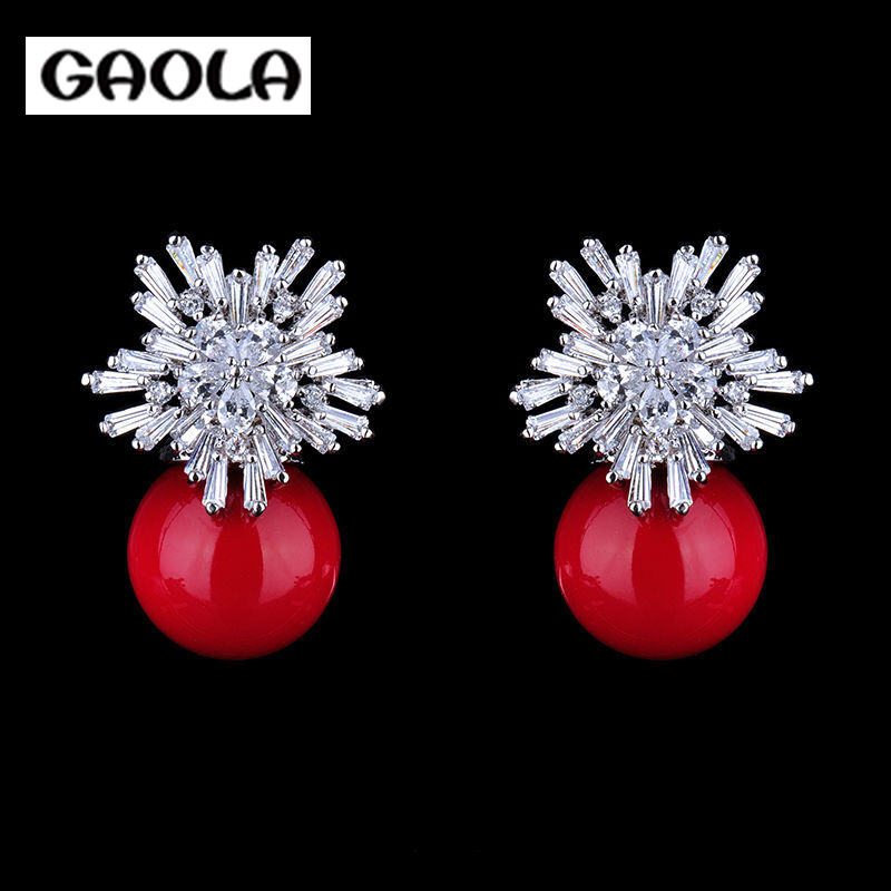 2e91b663b855 2015 moda AAA CZ perla pendientes plata plateada cuelgan los pendientes  GLE4233