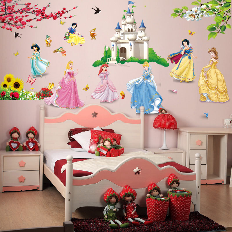 Removable diy seven princess birds flower castle wall for Decoration maison aliexpress