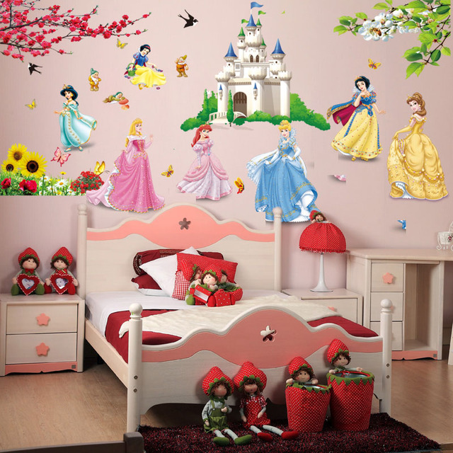 removable diy seven princess birds flower castle wall stickers home decor 5102. for kids rooms girl children's bedroom sticker