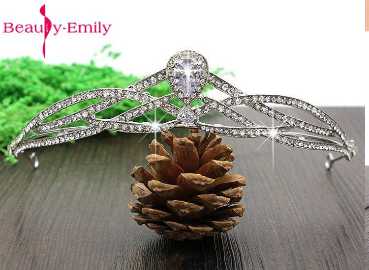 Beauty-Emily Bella Elegant grande flor de cabeca de cristal austriaco Tiara cabelo joias para o presente Wedding Accessores