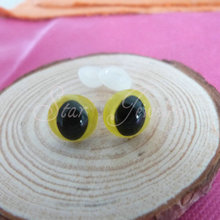Lemon Yellow color doll accessories plastic toy safety cat eyes with white washers 10mm 12mm 13mm